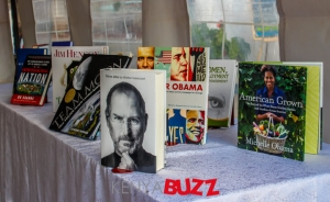 The books displayed at the American Corner