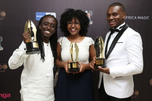 18 Hours winners from left: Kevin Njue, Phoebe Ruguru and Mark Maina. The film bagged a total of 3 awards during the AMVCAs.