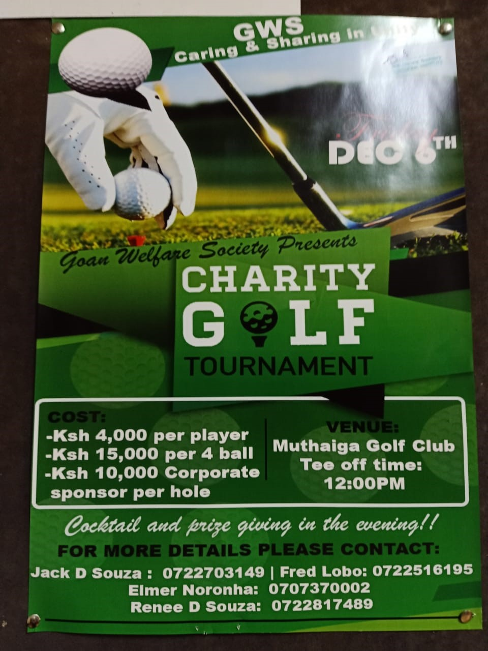 Goan Welfare Society Charity Golf Tournament