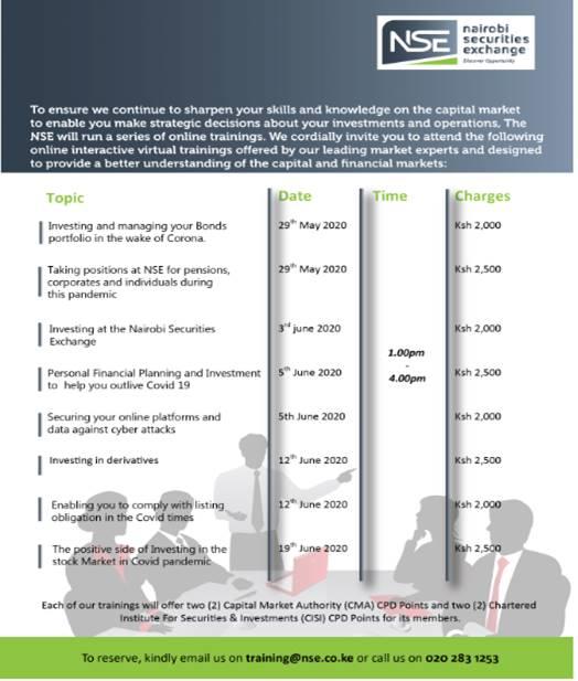 Nairobi Securities Exchange Online Virtual Trainings